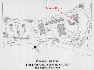 The grand plan for a mega-church on Pilgrim Hill. Our present day church was supposed to be the wedding chapel.