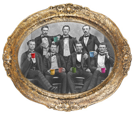 mens group guys with mugs in frame