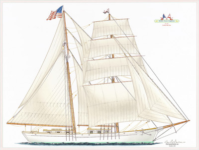 Architect's drawing of the schooner Matthew Turner